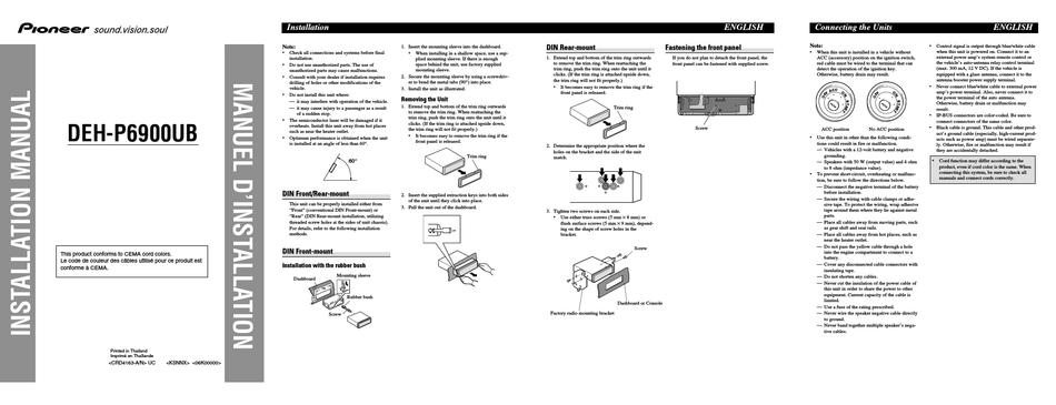 Pioneer Deh P6900ub Wiring Diagram