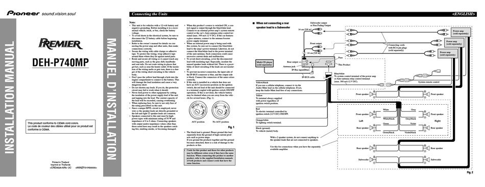 Pioneer Premier Deh P740mp Installation, Pioneer Premier Wiring Diagram
