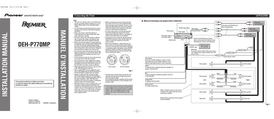 pioneer deh-p770mp installation manual pdf download | manualslib  manualslib