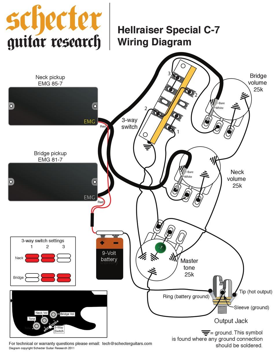 SCHECTER HELLRAISER SPECIAL C-7 WIRING DIAGRAM Pdf Download   ManualsLib   Guitar Wiring Diagram Schecter V7      ManualsLib