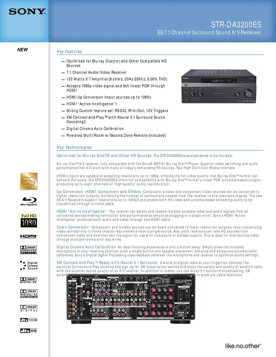 Sony Str Da3200es Specifications Pdf Download Manualslib