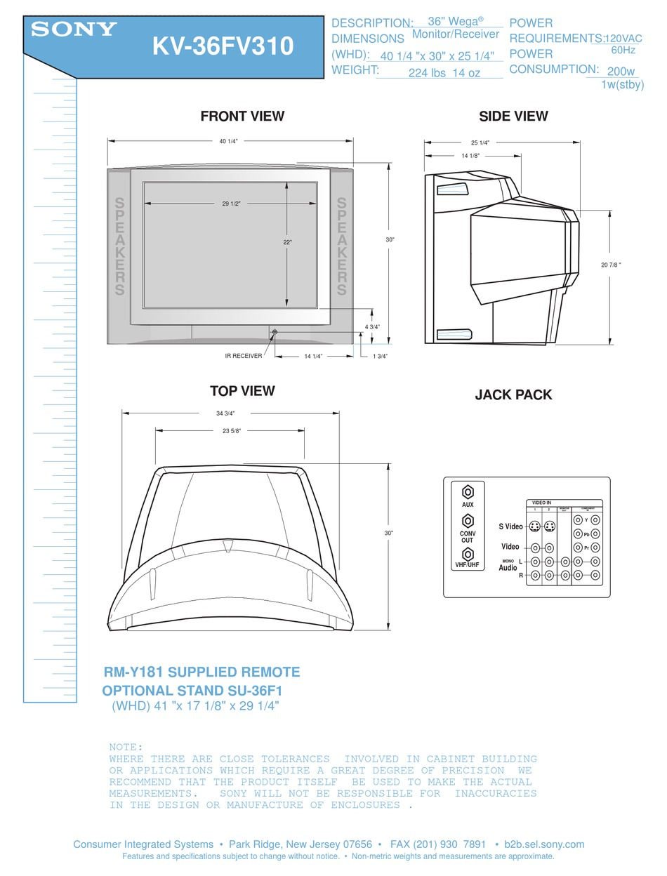Sony Fd Wega Trinitron 36 38 Inch Tv Crt With Stand Kv 36fs120 Flat Screen 119 00 Picclick