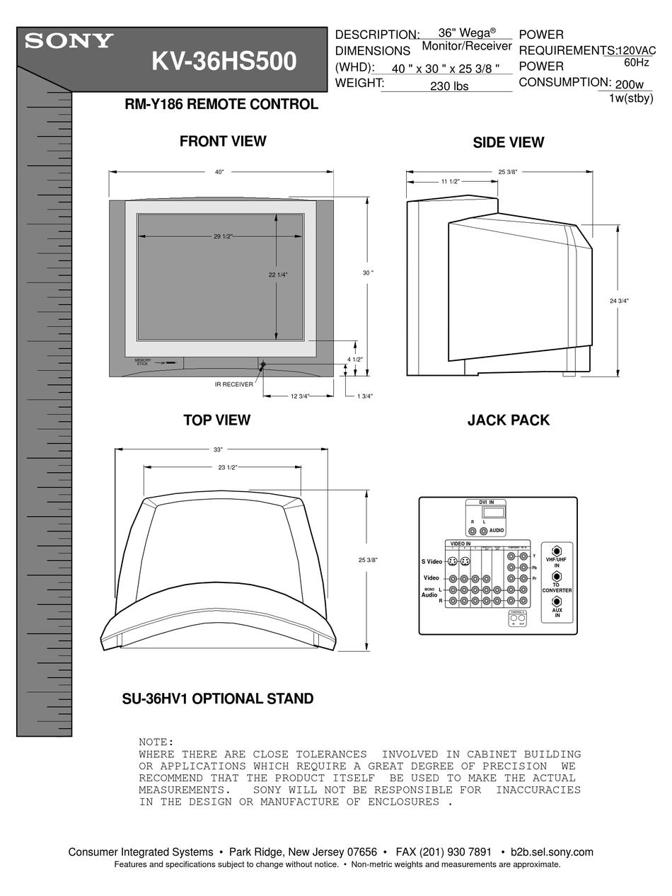 Sony Wega Kv 36hs500 Specifications Pdf Download Manualslib