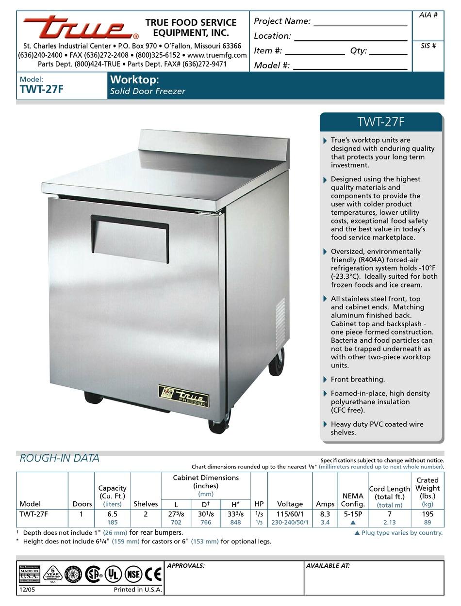 TRUE TWT-27F SPECIFICATIONS Pdf Download | ManualsLib | True Twt 27f Wiring Diagram For True |  | ManualsLib