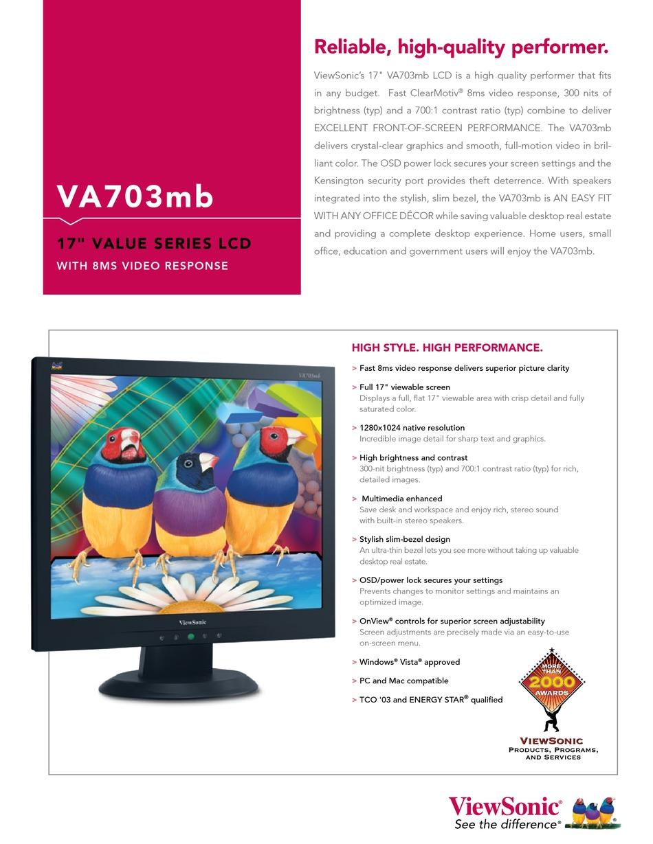 Viewsonic Va703m Specifications Pdf Download Manualslib