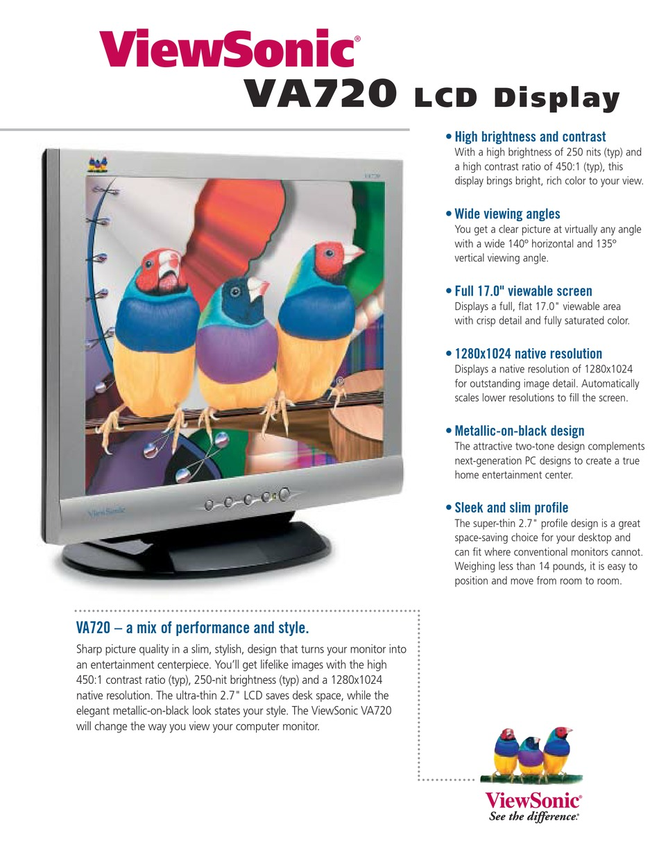 Viewsonic Va720 Specifications Pdf Download Manualslib