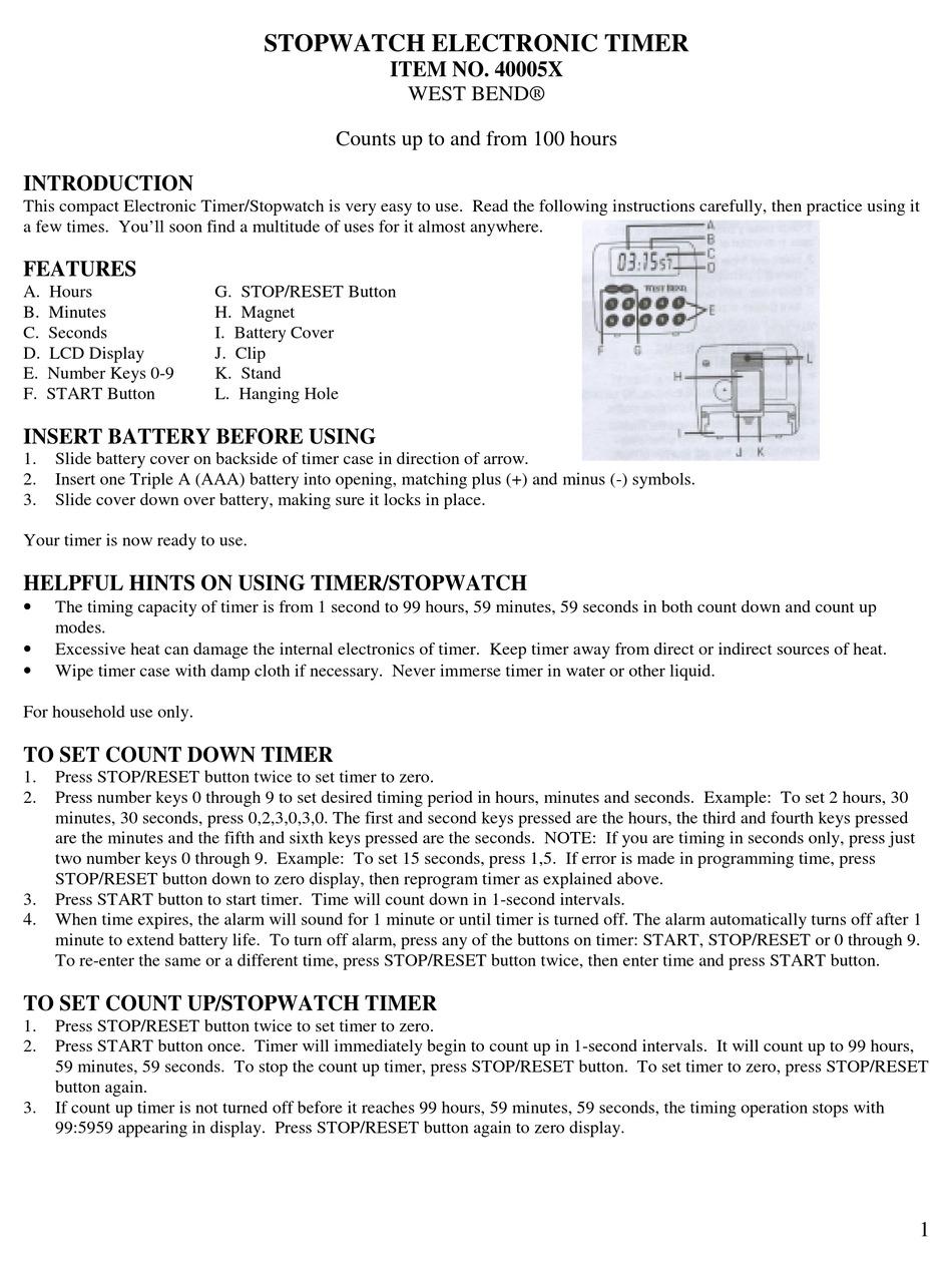 West Bend 40005x User Manual Pdf Download Manualslib