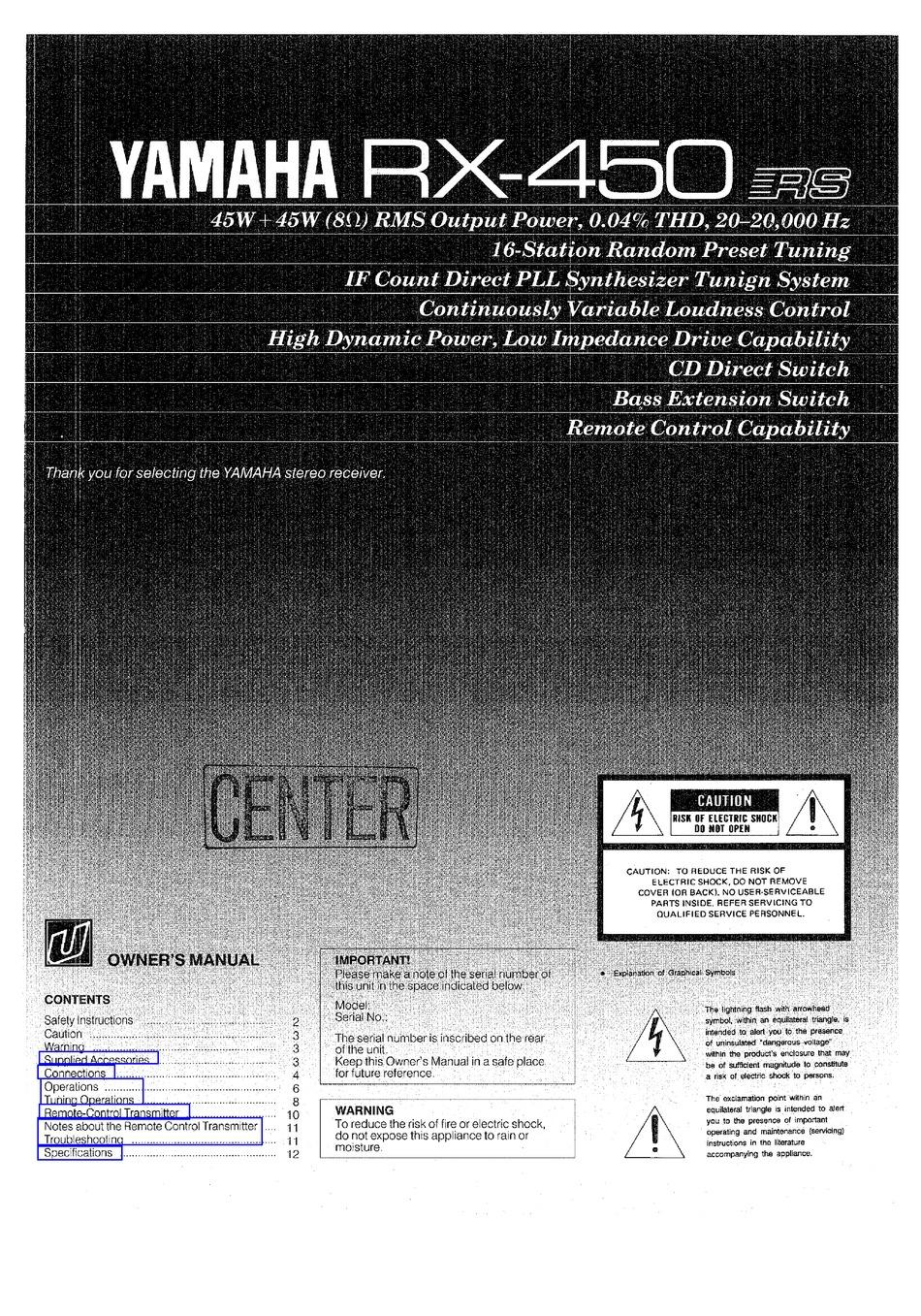 Yamaha Rx 450 Owner S Manual Pdf Download Manualslib