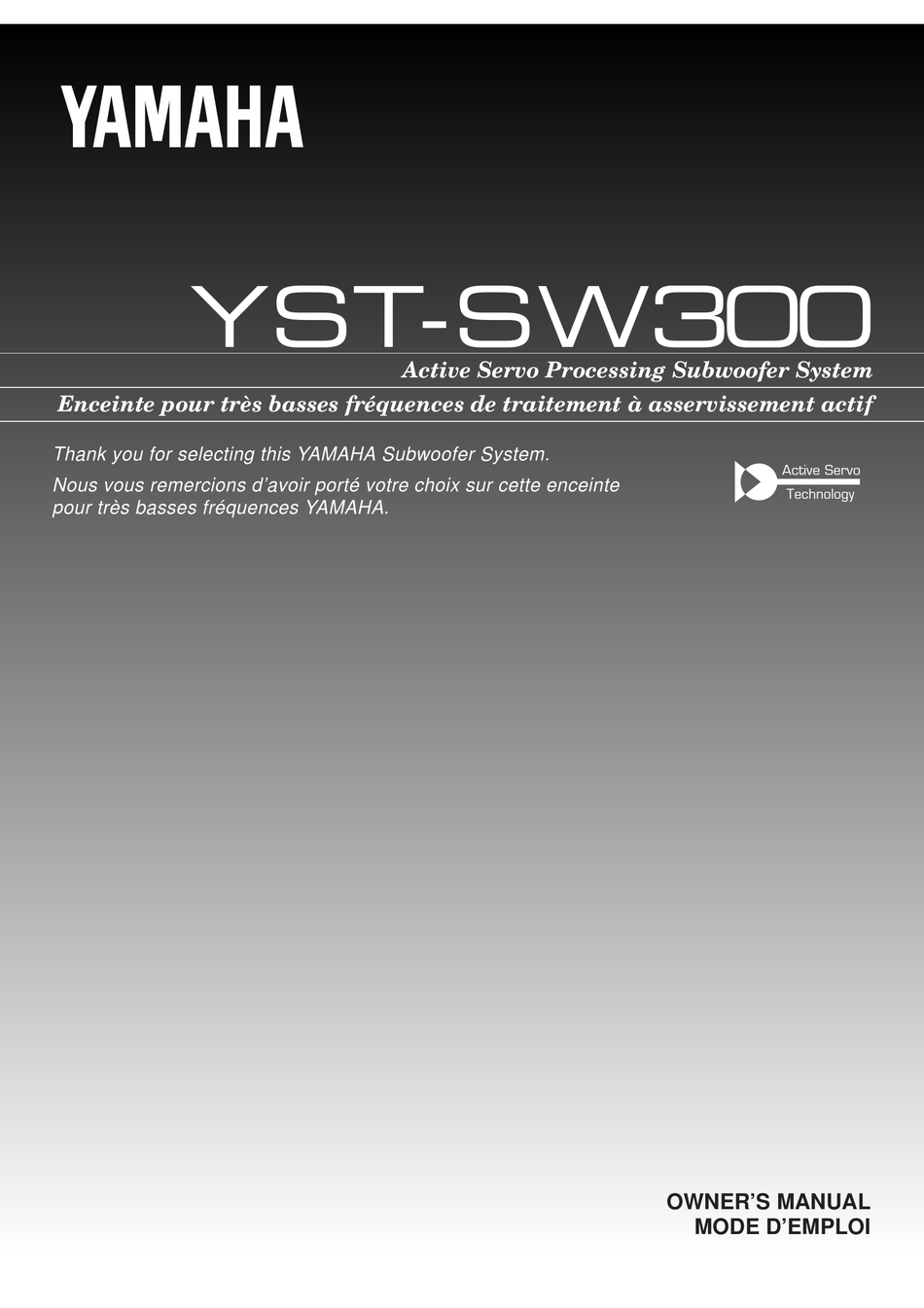 YAMAHA YST-SW300 OWNER'S MANUAL Pdf Download