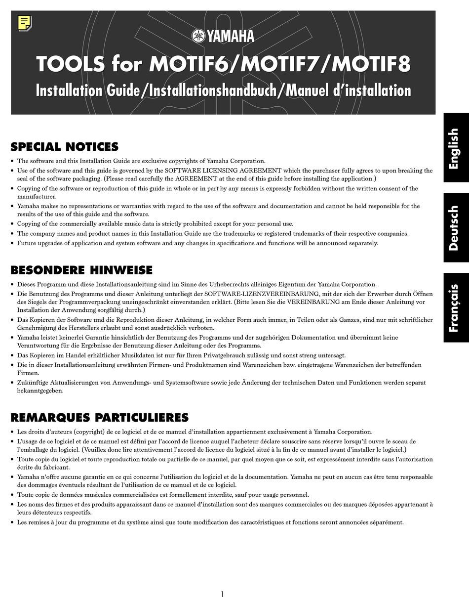Yamaha Motif 6 Software Manual Pdf Download Manualslib