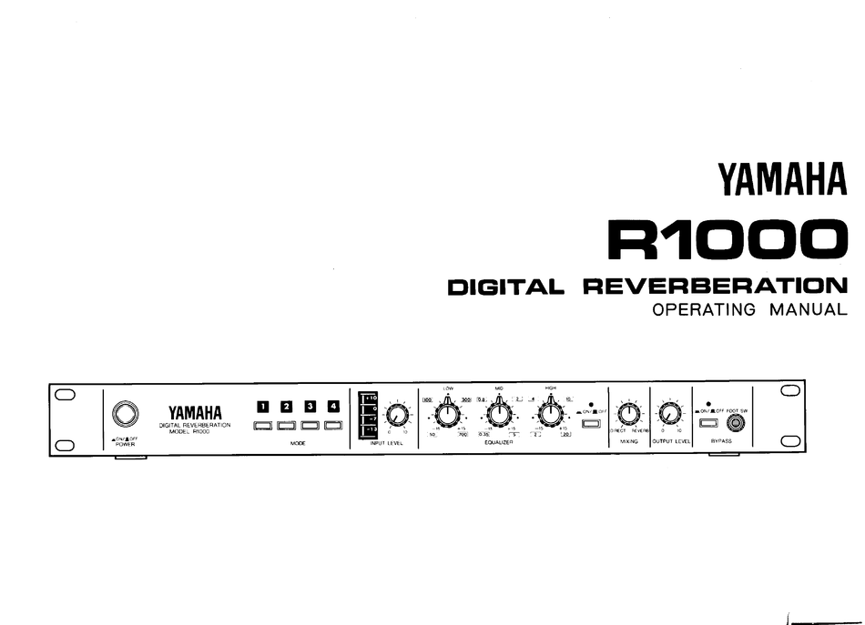Yamaha R1000 Operating Manual Pdf Download Manualslib