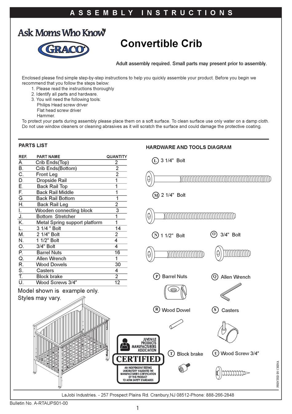 Graco 3250281 Lauren Drop Side Convertible Crib Assembly Instructions Manual Pdf Download Manualslib