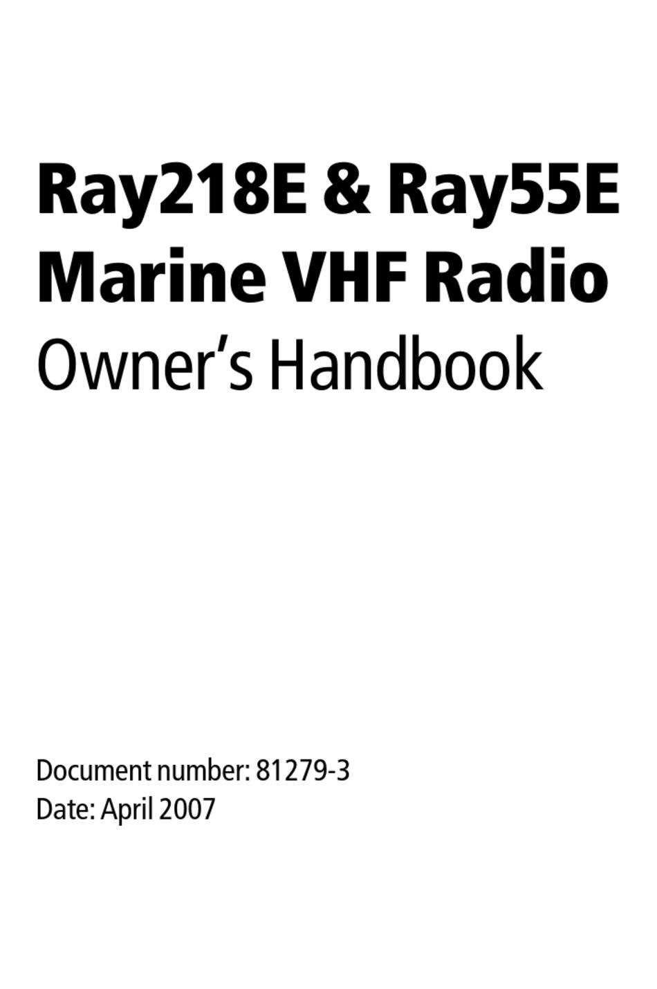 Raymarine Ray55e Owner S Handbook Manual Pdf Download Manualslib