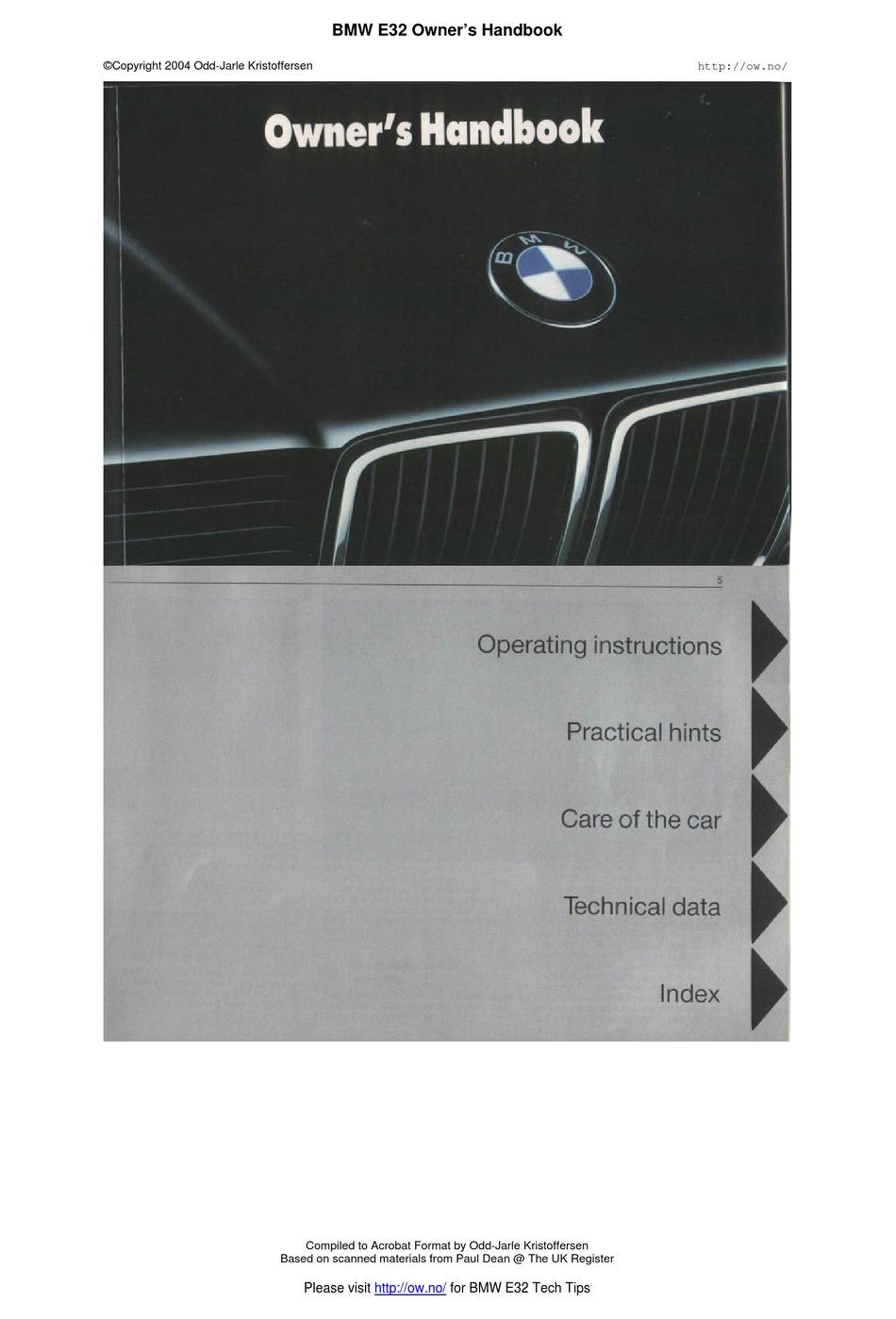 Bmw E32 Owner S Handbook Manual Pdf Download Manualslib