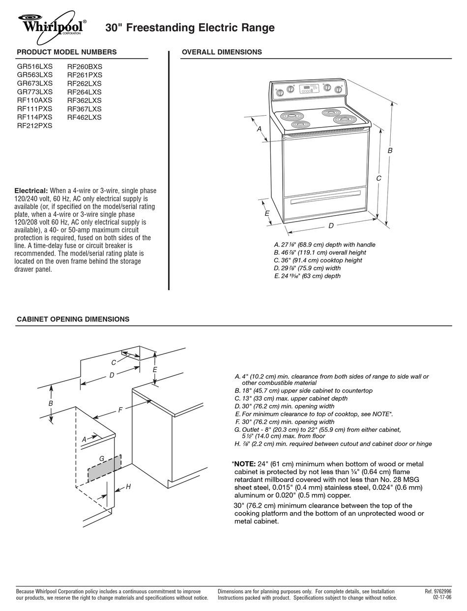 WHIRLPOOL 9762996-D-WH DIMENSIONAL INFORMATION Pdf Download | ManualsLib | Whirlpool Rf362lxsq Wiring Schematic |  | ManualsLib