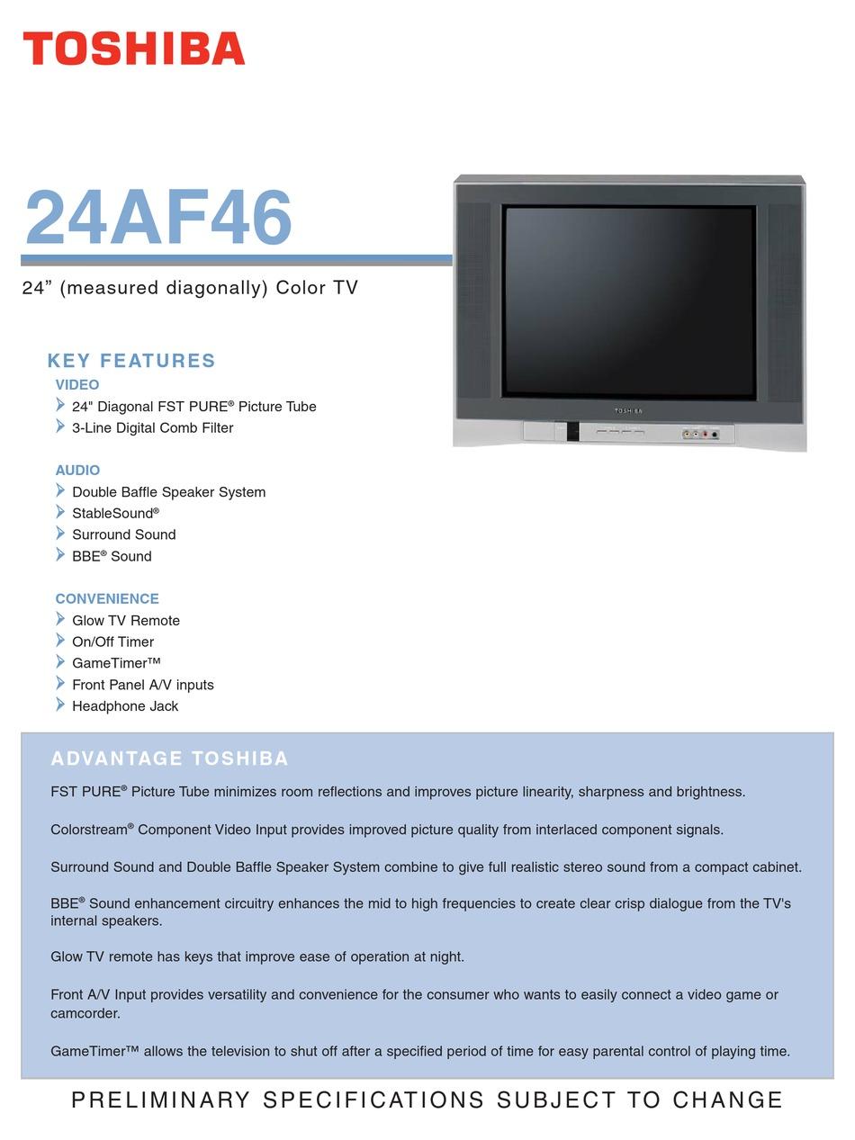 Toshiba 24af46 Specifications Pdf Download Manualslib