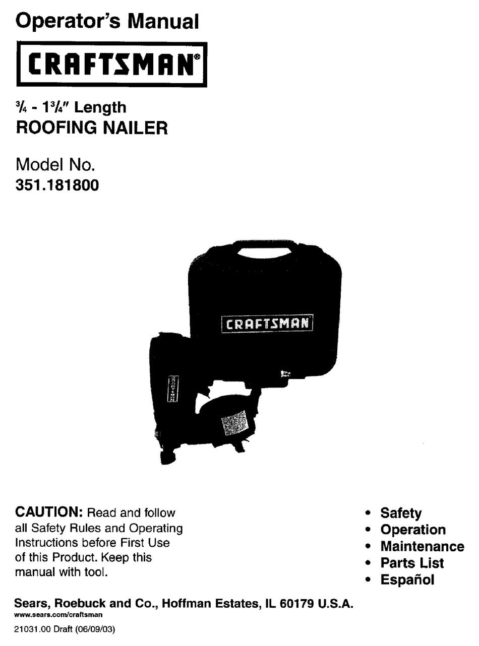 Craftsman 18180 To Coil Roofing Nailer Operator S Manual Pdf Download Manualslib