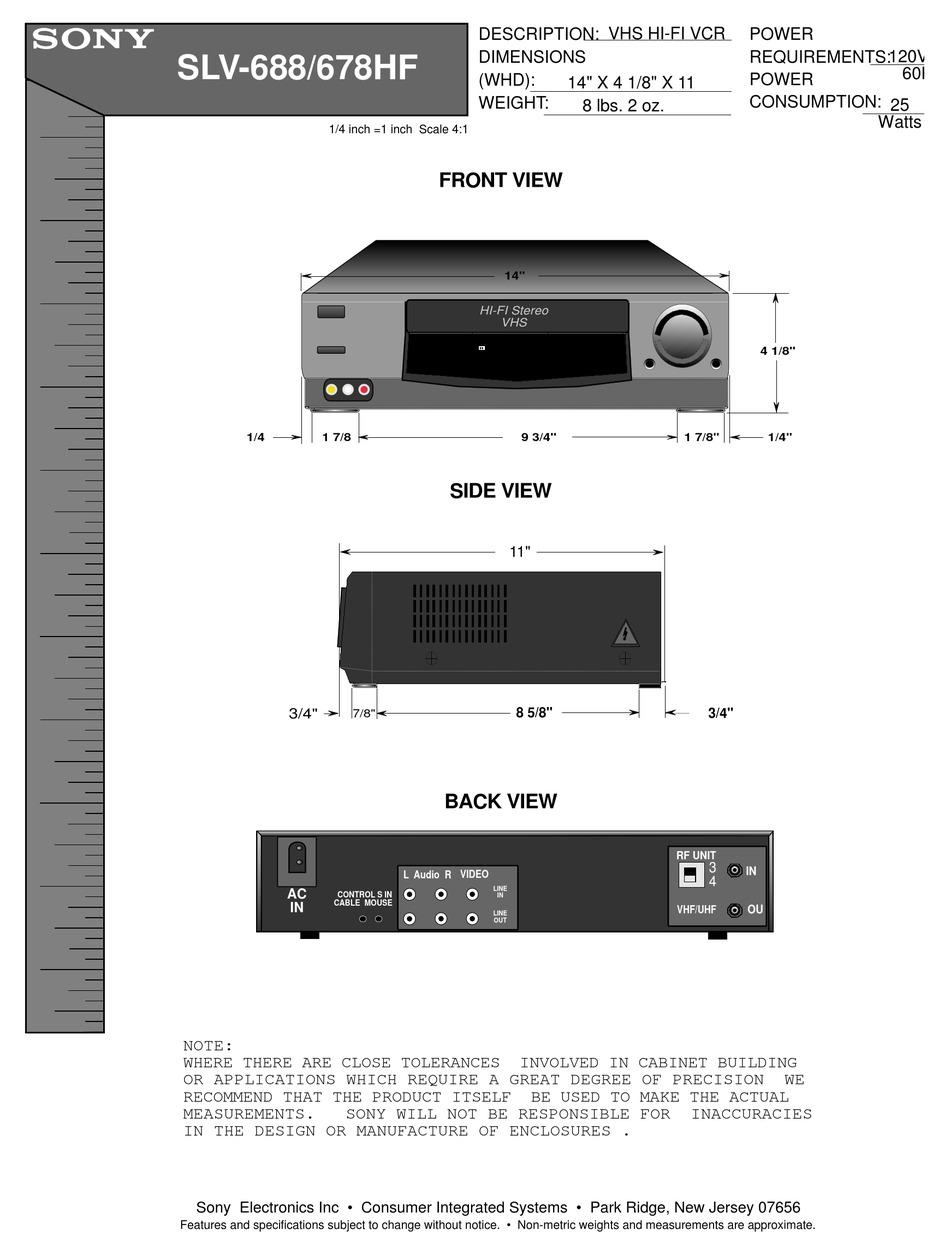 Sony Slv 678hf Video Cassette Recorder Dimensions Pdf Download Manualslib