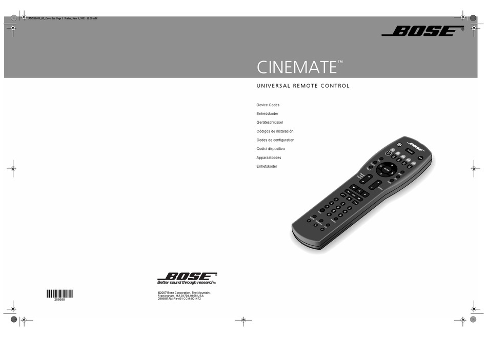 Bose Cinemate Code List Pdf Download Manualslib