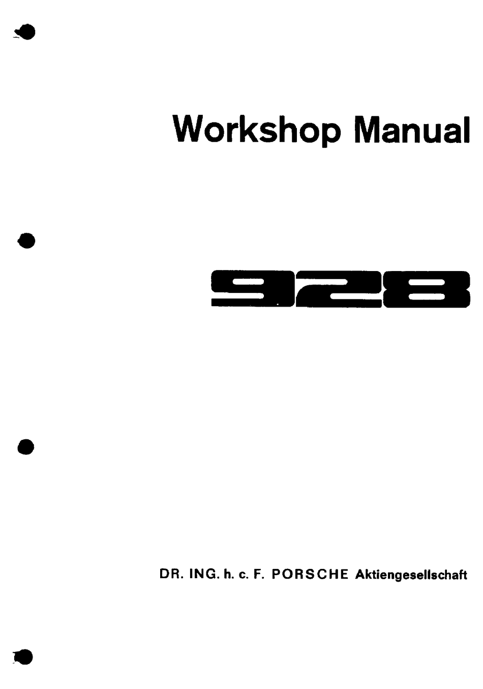 Porsche 928 Workshop Manual Pdf Download Manualslib