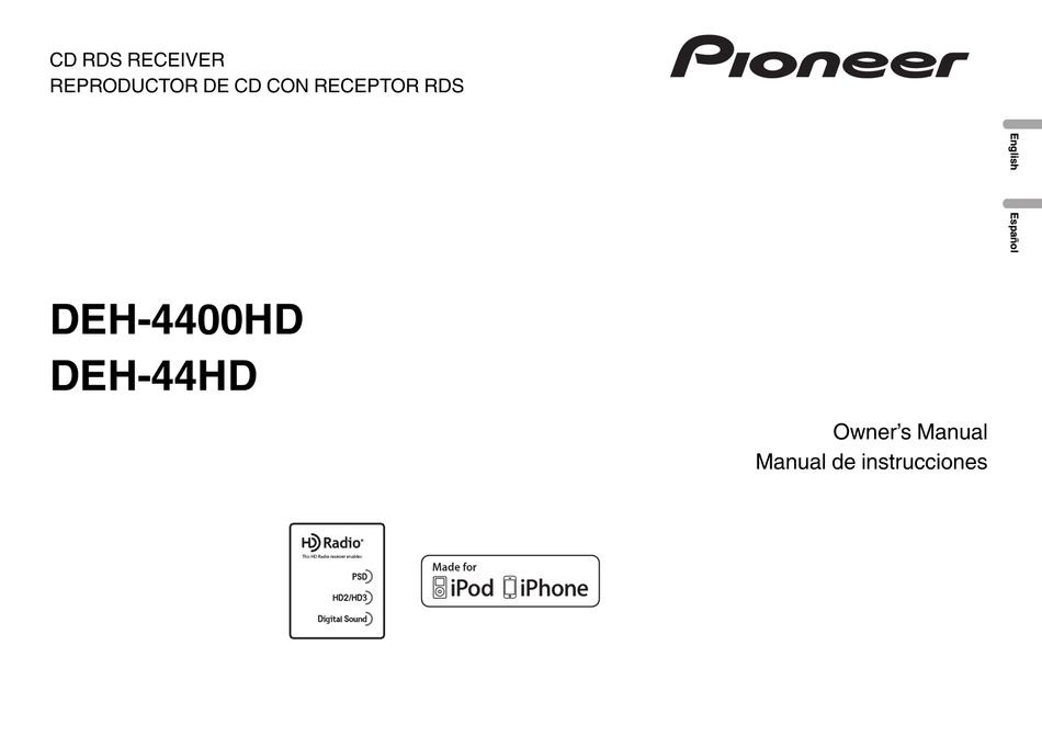Pioneer Deh 4400hd Owner S Manual Pdf Download Manualslib