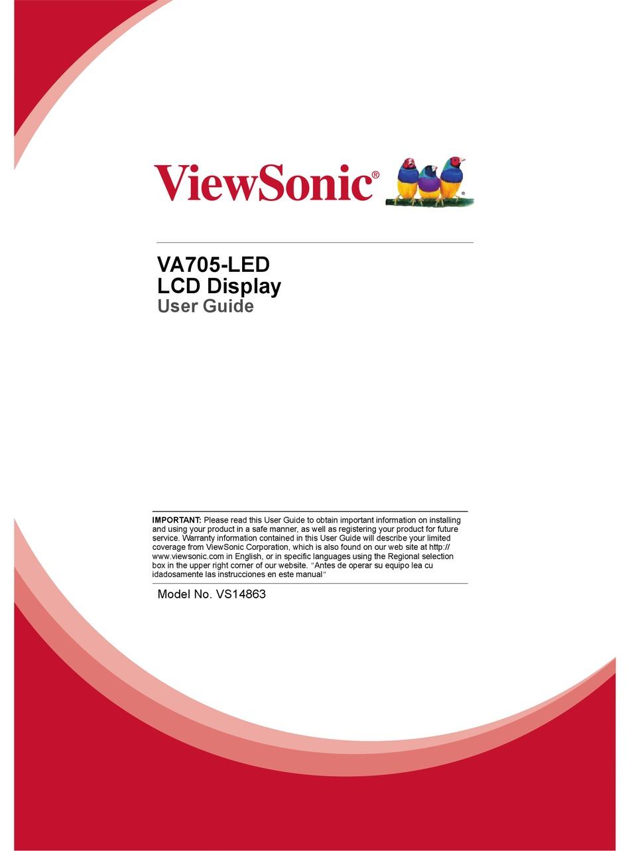 Viewsonic Va705 Led User Manual Pdf Download Manualslib