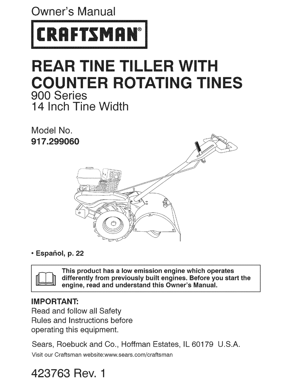 Craftsman 29906 14 In Rear Tine Tiller Owner S Manual Pdf Download Manualslib