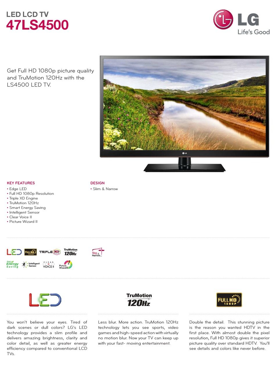 Lg 47ls4500 Specification Pdf Download Manualslib