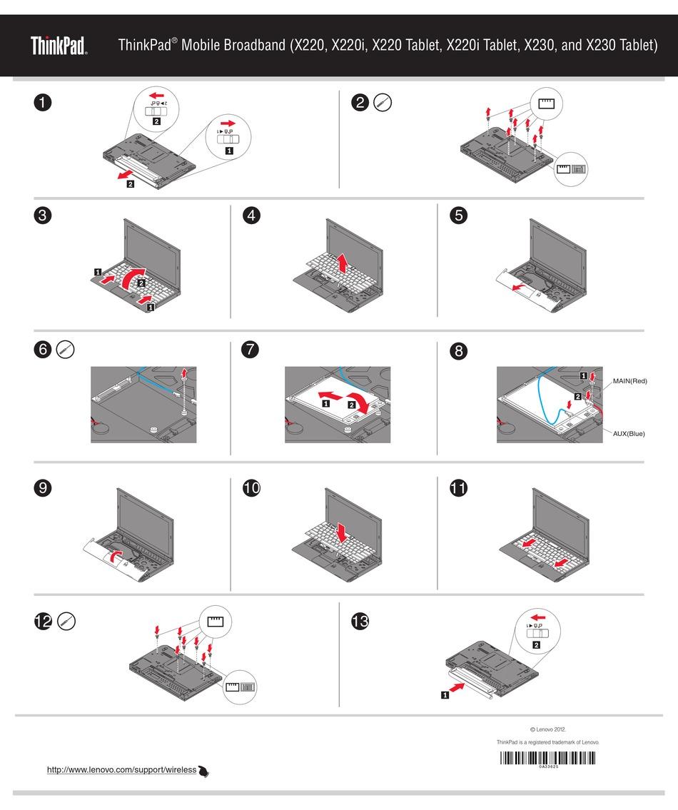 Lenovo Thinkpad X220 Tablet Installation Instructions Pdf Download Manualslib