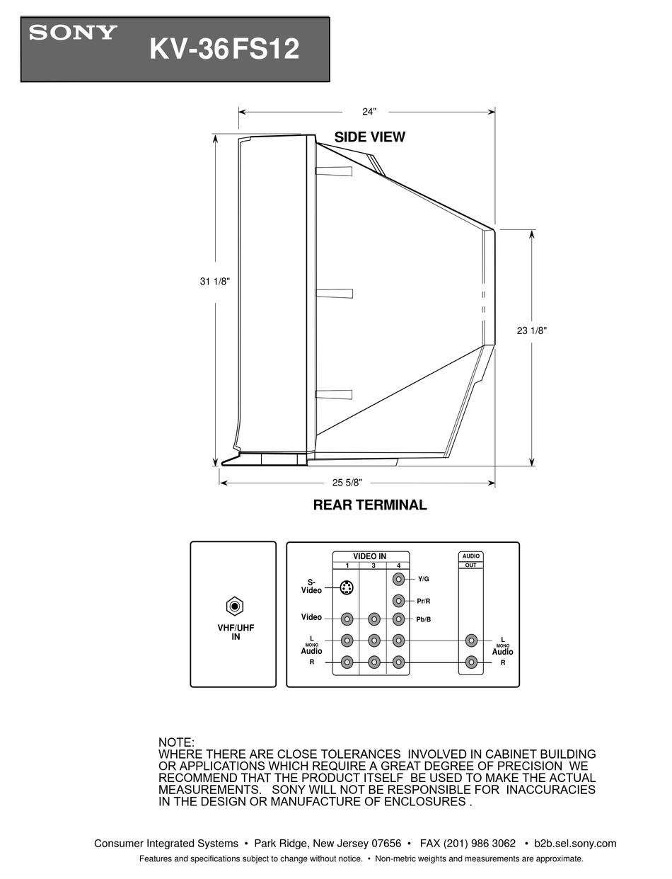 Sony Kv 36fs12 36 Trinitron Wega Dimensions Pdf Download Manualslib