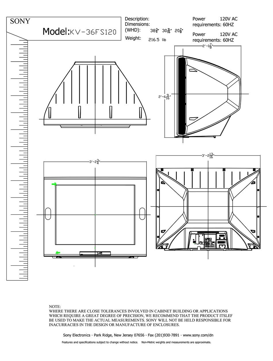 Sony Kv 36fs120 36 Fd Trinitron Wega Dimensions Pdf Download Manualslib