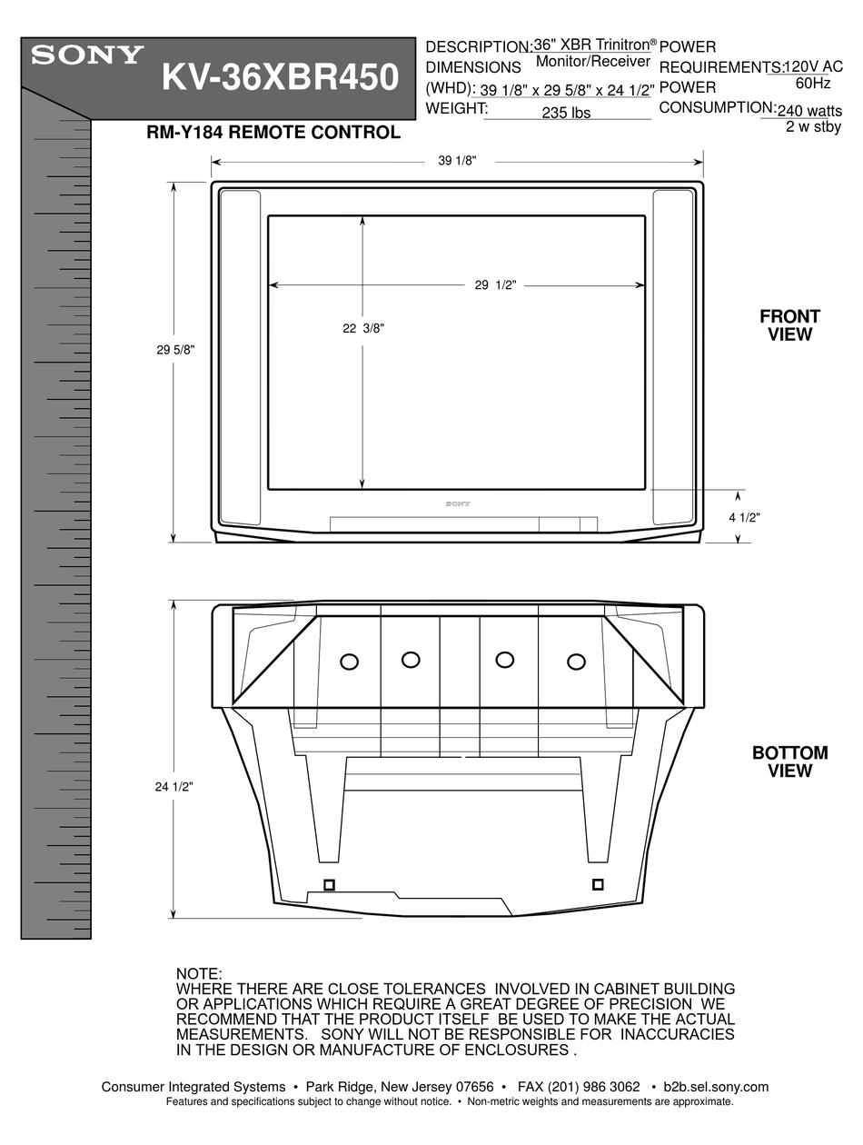 Sony Kv 36xbr450 36 Fd Trinitron Wega Xbr Television Dimensions Pdf Download Manualslib