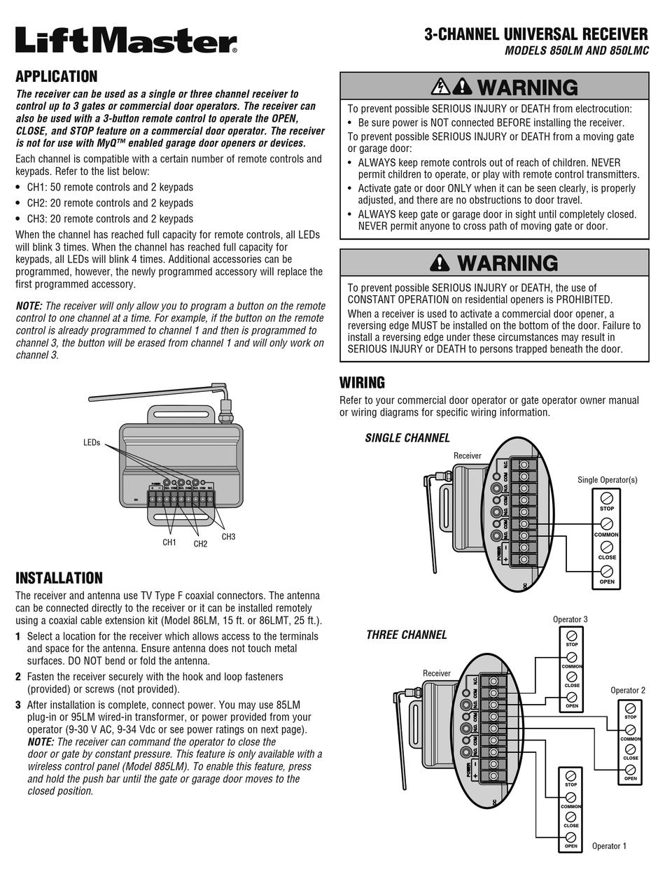 Chamberlain Liftmaster 850lm Installation Manual Pdf Download Manualslib