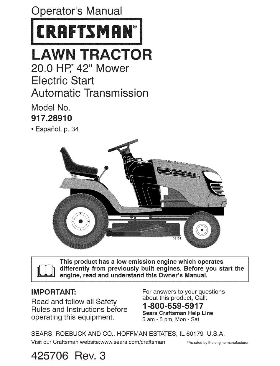 Craftsman 28910 Lt 2000 20 Hp 42 Lawn Tractor Operation Manual Pdf Download Manualslib