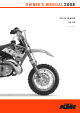 KTM 50 SX Owner's Manual