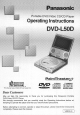 Panasonic PalmTheater DVD-L50 Operating Instructions Manual