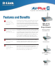 D-Link AirPlus G DWL-G710 Features And Benefits