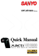 Sanyo VPC HD1000 - Xacti Camcorder - 1080i Quick Manual