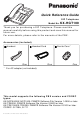 Panasonic KX-HGT100B Quick Reference Manual