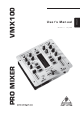 Behringer Pro Mixer VMX100 User Manual