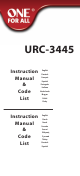 One For ALL URC-3445 Instruction Manual  & Code  List