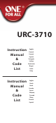 One For ALL URC-3710 Instruction Manual  & Code  List