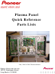 Pioneer PDP-433CMX Quick Reference Parts Lists