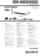 Sony RDR-HX825 Service Manual