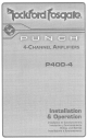 Rockford Fosgate Punch P400-4 Installation & Operation Manual