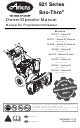 Ariens 921017 - Deluxe 24 Platinum Owner's/Operator's Manual