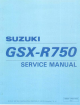 Suzuki 1996 GSX-R750 Service Manual