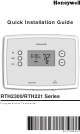 Honeywell RTH2300 series Quick Installation Manual