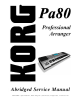 Korg Pa80 Abridged Service Manual