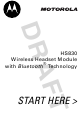 Motorola HS830 HANSFREE Start Here Manual